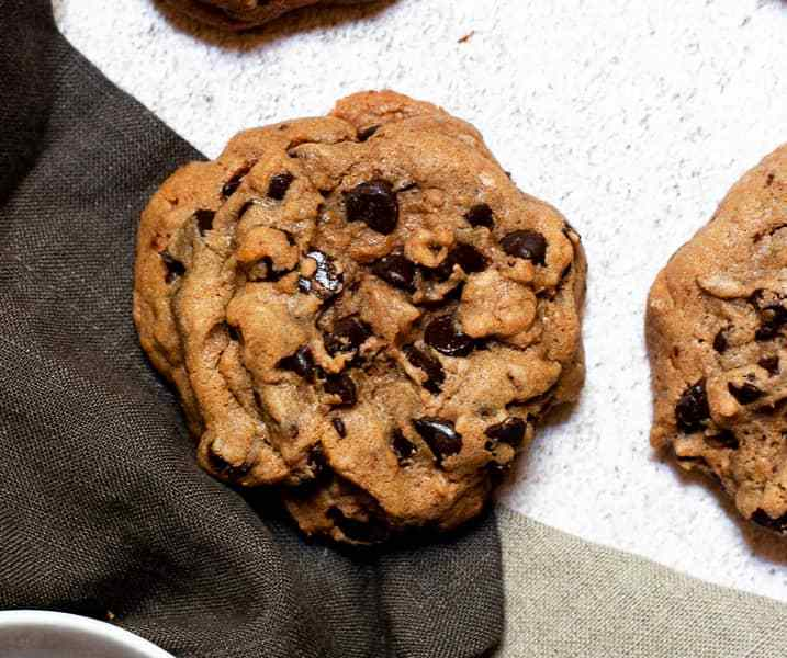 Gooey Bourbon Browned Butter Chocolate Chip Cookies