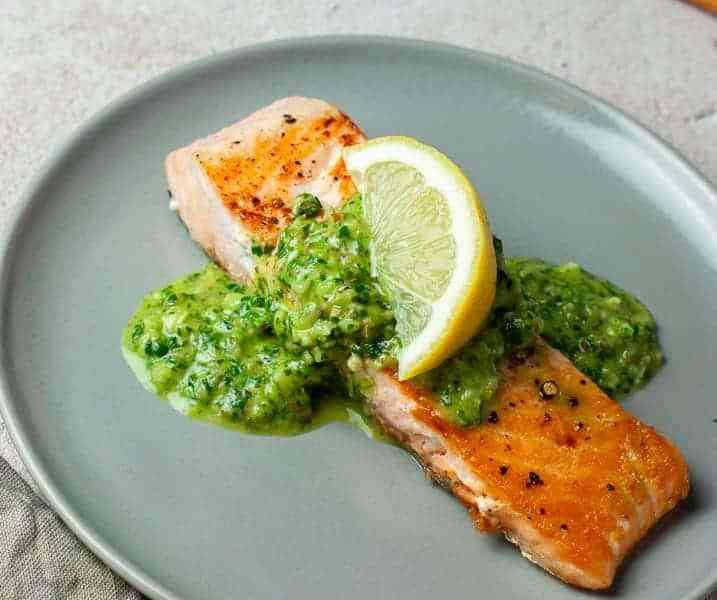 Easy Pan Seared Salmon with Chimichurri Sauce Recipe