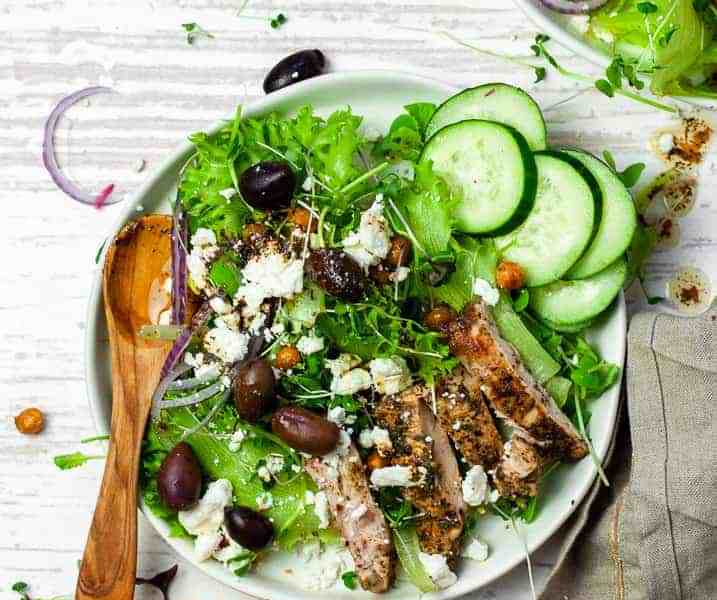 Easy Greek Chicken Salad with Crispy Chickpeas Recipe