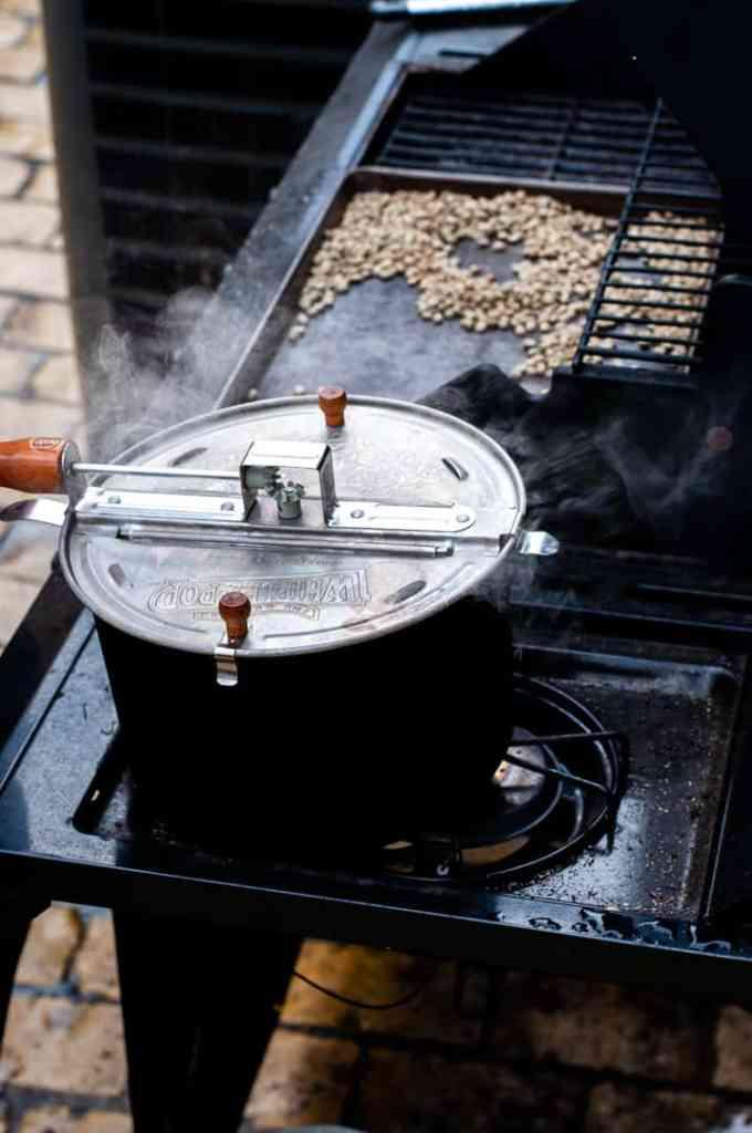 Roasting coffee using a popcorn popper