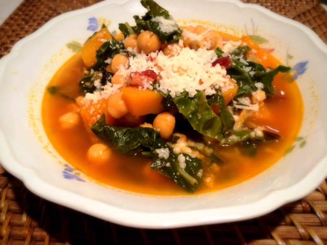 chard, butternut squash, chickpea and bacon soup