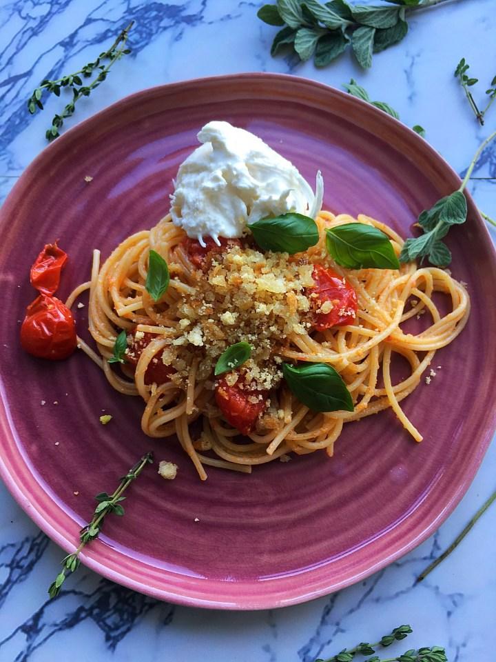 Spaghetti met Burrata en Citroenkruim (V)