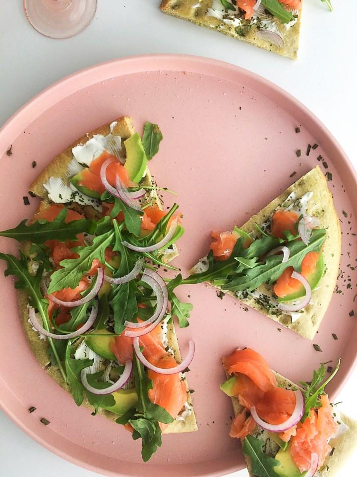 Spinazie Lunchpizza met zalm