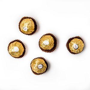 5 Ferrero Rocher chocolates.