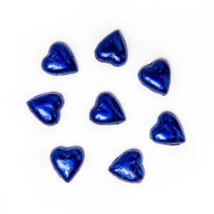 8 blue foil wrapped milk chocolate hearts.