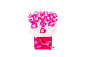"""14 Baci chocolates wrapped in clear and """"leafed"""" with pink cello, all elegantly surrounded by white cello in a small pink box. Finished with a pink ribbon with silver print."""