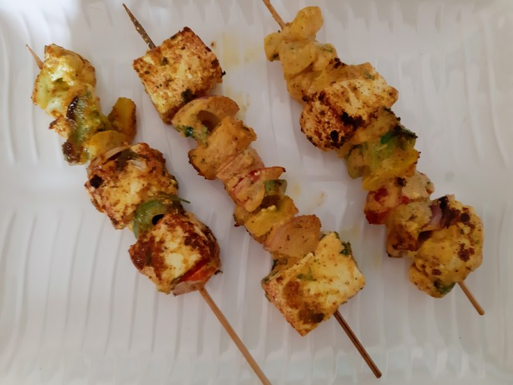 Grilled paneer and vegetables