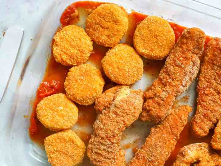 chicken nuggets in a glass baking dish