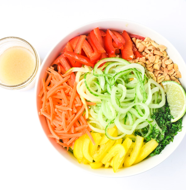 Spiralized Spring Roll Bowls - cucumber noodles, sweet Asian dressing, and all the flavors of Spring Rolls in a bowl. No rice paper rolling involved! | tastythin.com