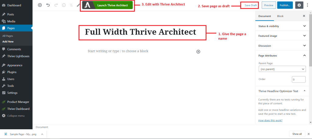 creating a new page and editing with thrive architect