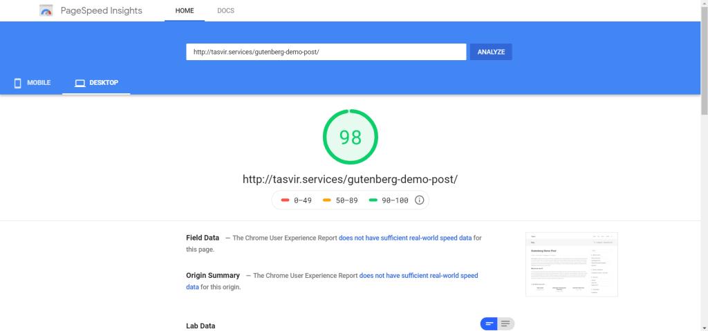 guternberg-page-insights-score-desktop