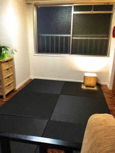 中古マンションのリノベーションに黒い置き畳でオシャレに!【清流 墨染色】