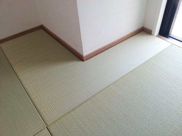 柱の形に合わせ琉球畳を製作しました