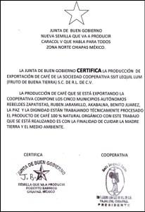 certificazione organica zapatista