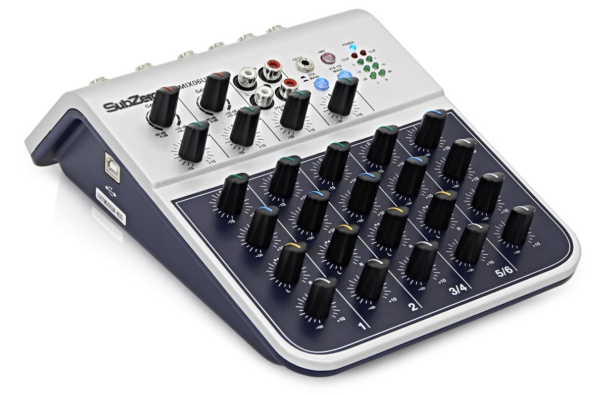 6 Channel Mixer with bass treble and echo controls