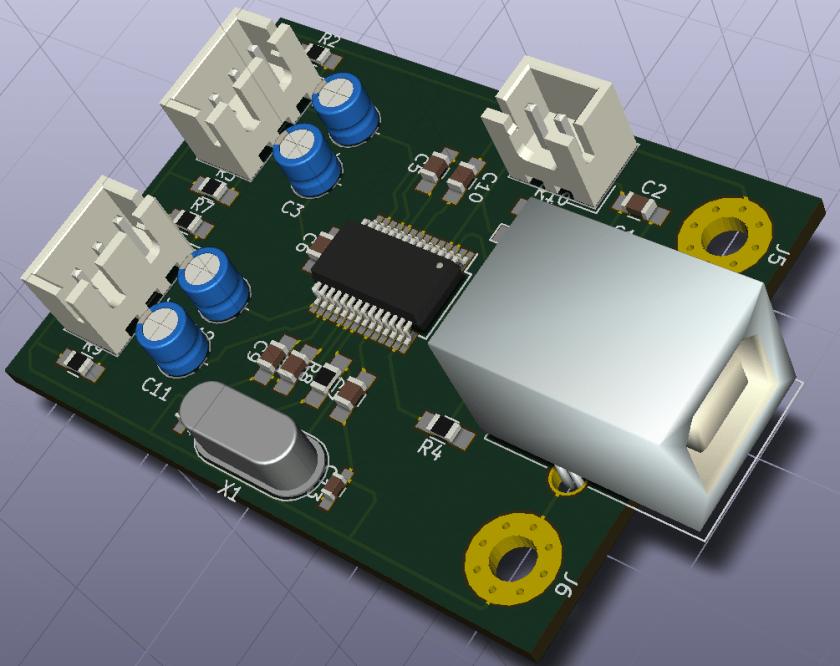 simple usb audio interface PCB design