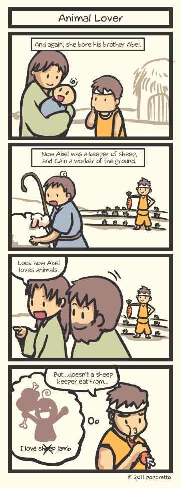 Genesis Bible Christian Comic Strip Abel eating sheep Animal Lover