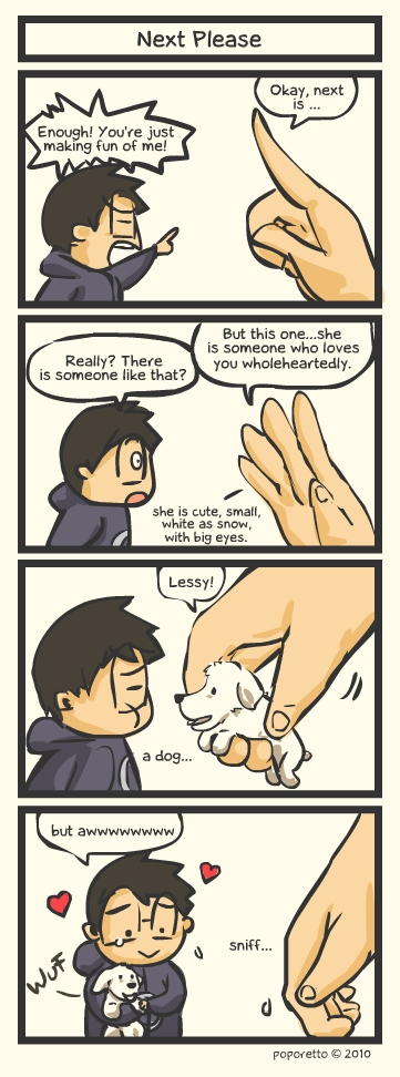 Lessy poodle dog comic strip funny