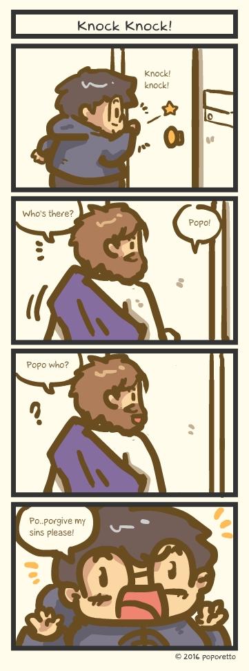 knock knock christian comic strip joke