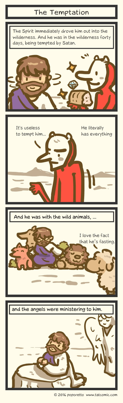 Christian Comic Strip the Gospel of Mark Book of Mark Jesus tempted by the demon in the wilderness