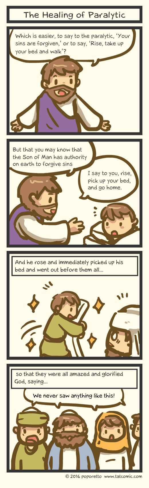 Book of mark comic gospel about how jesus healed the leper and he picked up his own bed