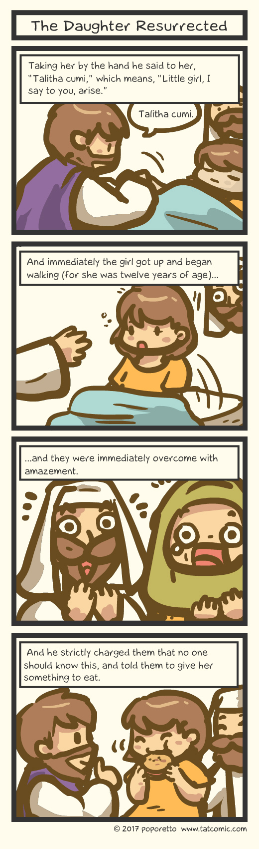 Bible comic Gospel Christian comic strip Jesus Christ resurrected jairus daughter
