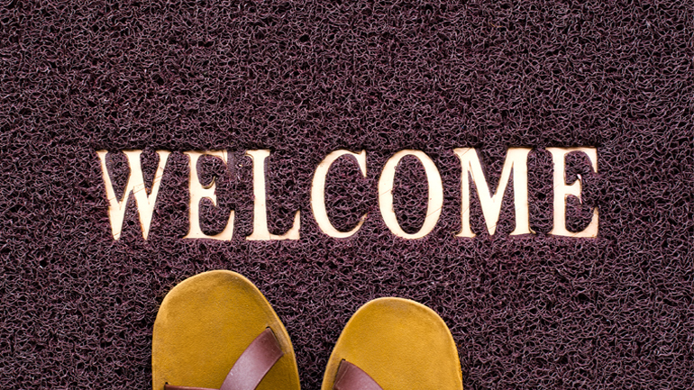 Welcome mat with shoes
