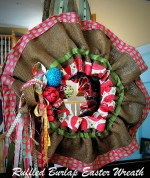 Ruffled Burlap Easter Wreath tutorial