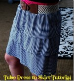 10-Minute Refashion Makeover — from Tube Top Dress to Ruffly Skirt!! {tutorial}