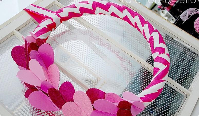 Valentine's Day ♥ Chevron & Sparkle Wreath (tutorial)