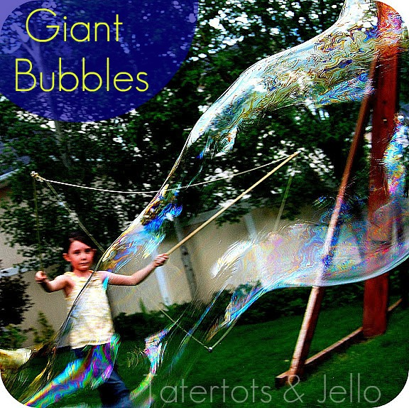 Make Giant Bubbles.at home and 1 month of free kids craft ideas with amazon links.