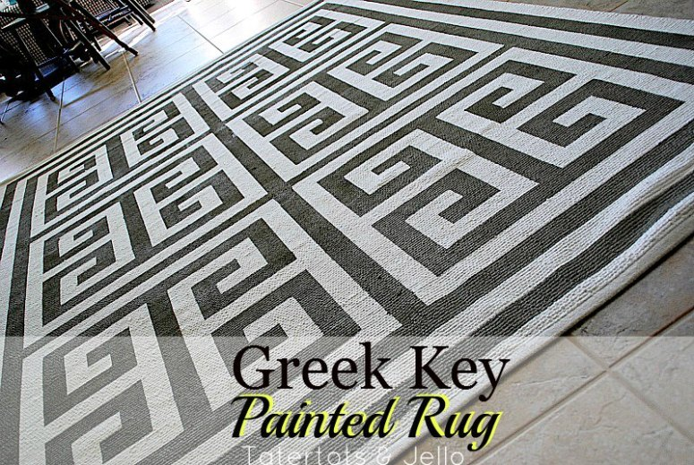painted greek key rug