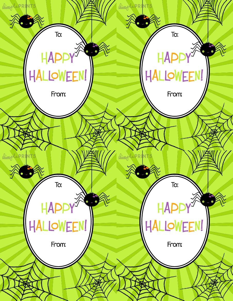 Four Printable Halloween Gift Tags