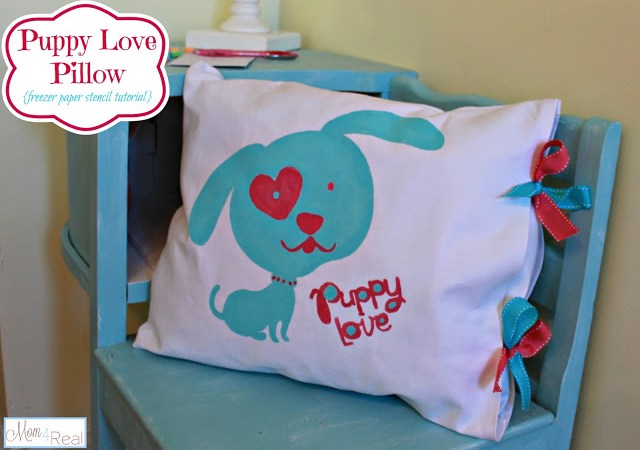 Valentine Puppy Love Pillow (Freezer Paper Stencil Tutorial)