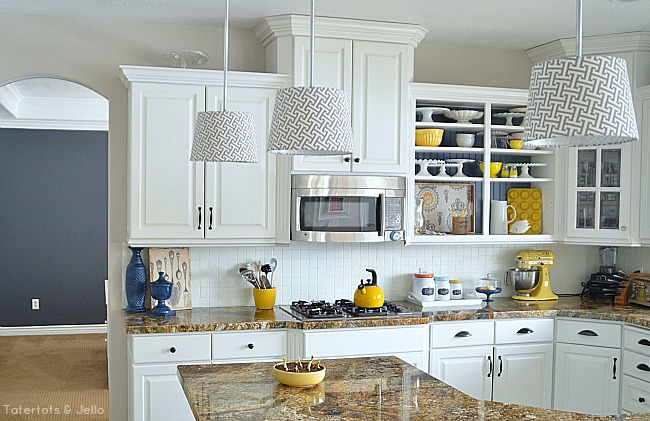 Create kitchen open shelves Yellow and gray kitchen decor