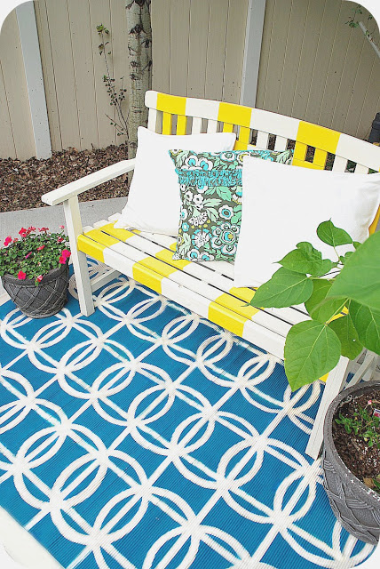 spraypainted outdoor rug
