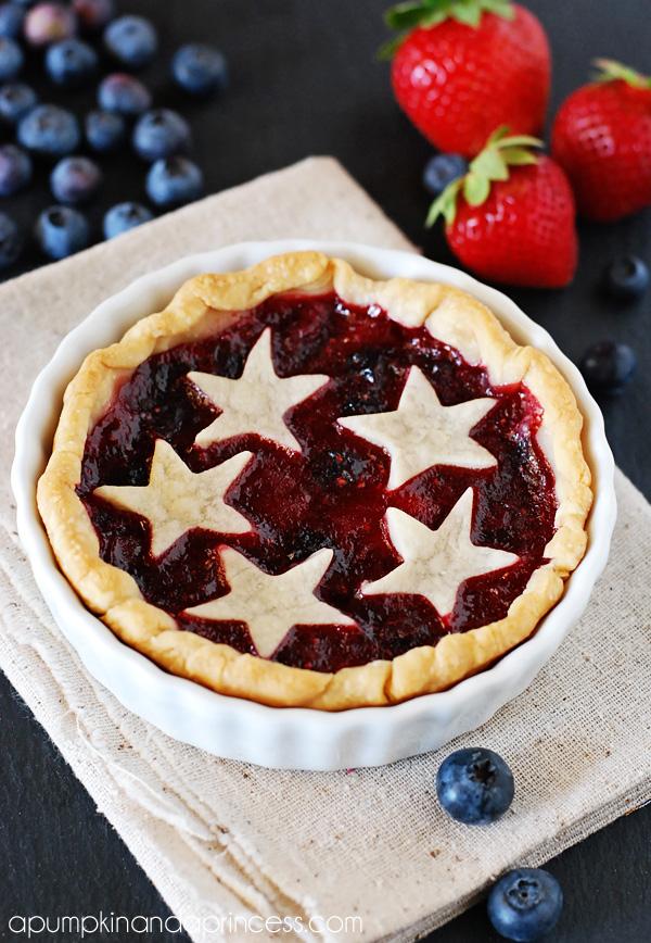 Fourth of July cherry pie with pie crust stars
