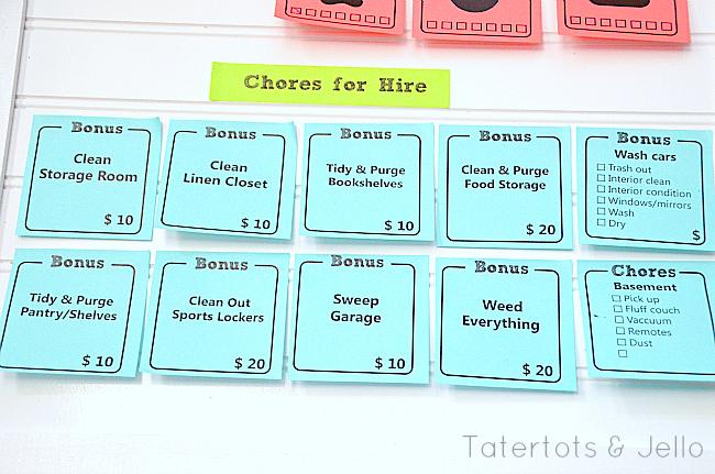 bonus chore printables post-it notes at tatertots and jello
