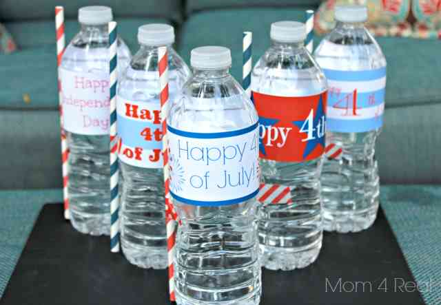 fourth of july water bottle printables