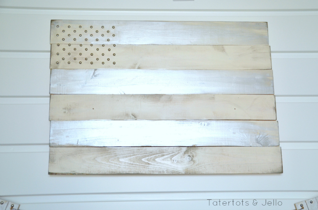 small wood plank flag and upholster tack stars