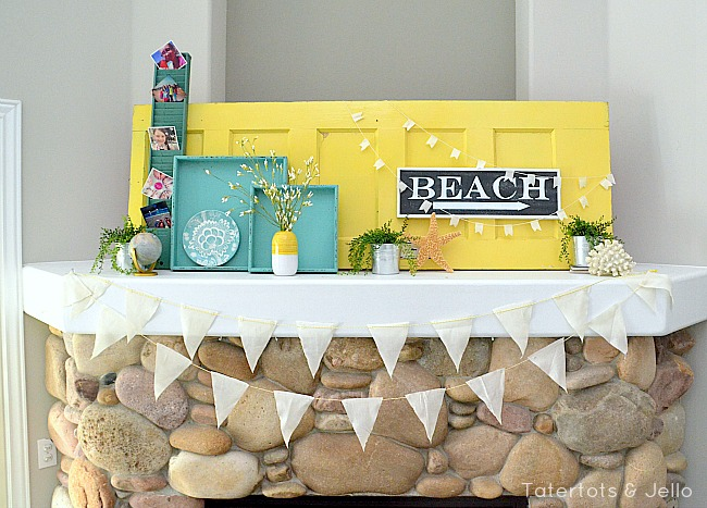 beachy mantel and muslin buntings at tatertots and jello