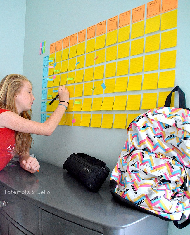 post it note school planning wall system