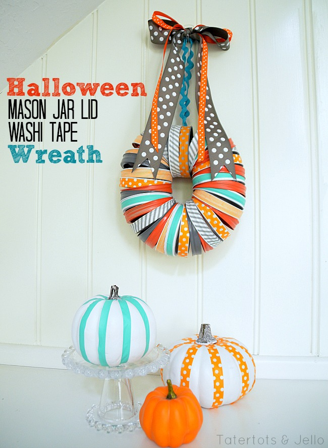 halloween mason jar lid wreath