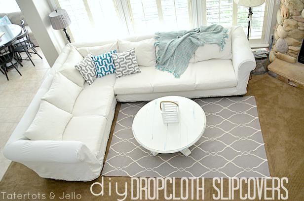 Make A Dropcloth Sofa Sectional Slipcover Tatertots And