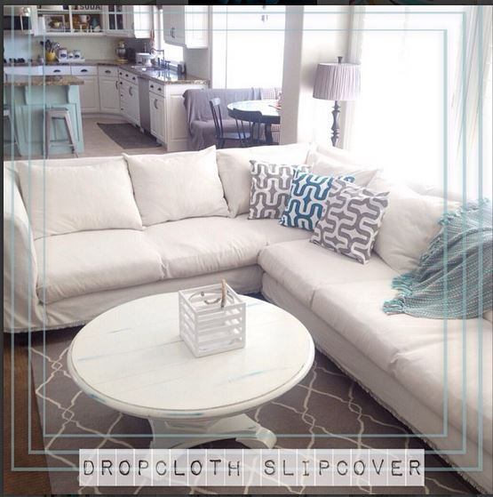 Make a Dropcloth Sofa Sectional Slipcover Tatertots and Jello