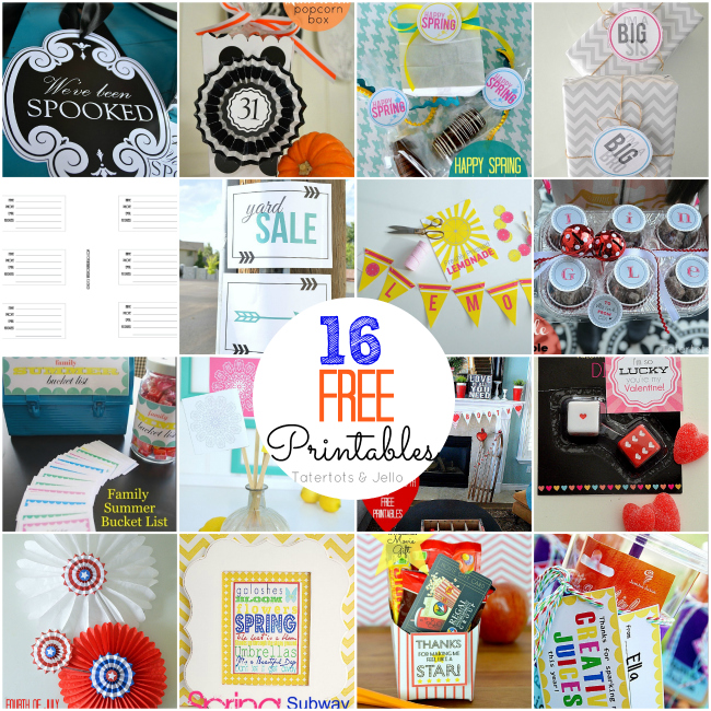 16 free printables at tatertots and jello
