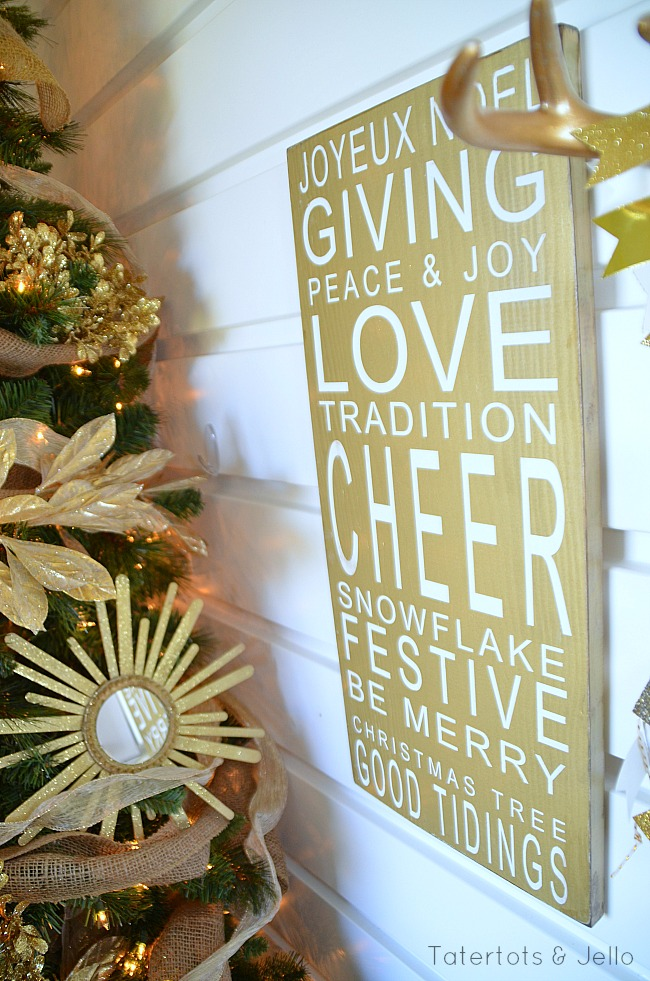gold and white ballard design knock off christmas board