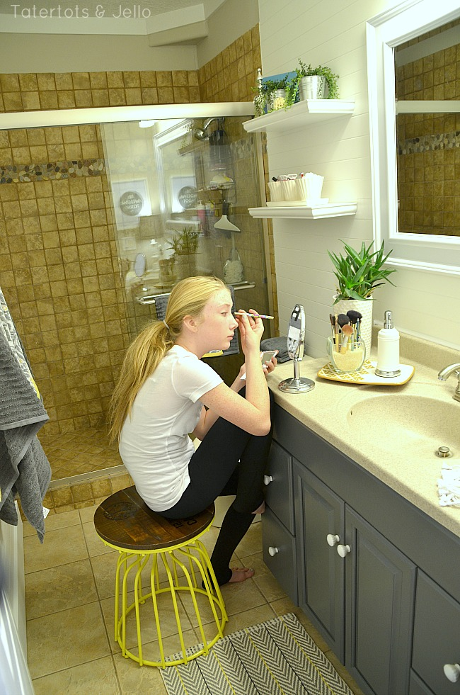 makeup station in tween bathroom redo