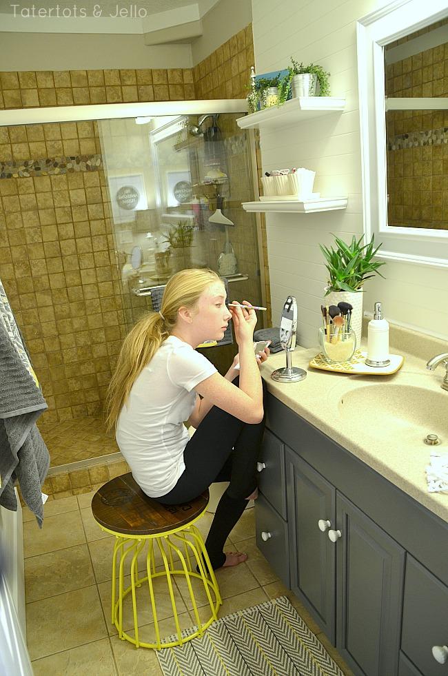 Makeup Station In Tween Bathroom Redo