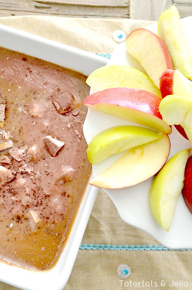 milky way caramel apple dip recipe at tatertots and jello